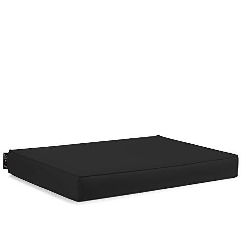 EXTOITALY Bavaro Free Coussin séance pour K511B mis. 82 x 122 H.11 cm divanetti en Palettes de Bois revêtement en Cuir synthétique PVC 10 Couleurs Disponible Noir