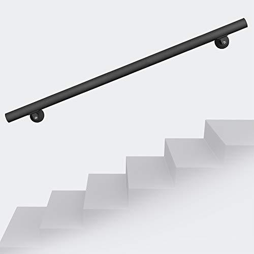 Corrimano attacco a parete muro per scale acciaio inossidabile 190 cm Nero