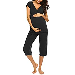 Ekouaer Women Layered Maternity & Nursing Pajama Capri Set Cotton Hospital PJS Set Pregnancy Breastfeeding Sleepwear(S-XXL)