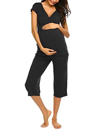 Ekouaer Maternity & Nursing Clothes Pajama Capri Set Cotton PJS Set Pregnancy Breastfeeding Sleepwear (Black, XXL)