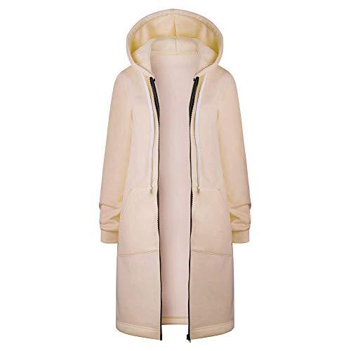 DAY8 Damen Warm-Reißverschluss öffnen Hoodies Sweatshirt Lange Mantel-Jacke Tops Outwear(Khaki, 3XL)