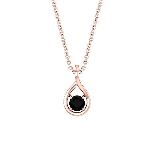 4 MM Black Diamond Solitaire Necklace, 1/3 CT Black Diamond Pendant for Women, Teardrop Pendant Necklace Gold, Charm Drop Pendant, Anniversary Pendant, 18K Rose Gold