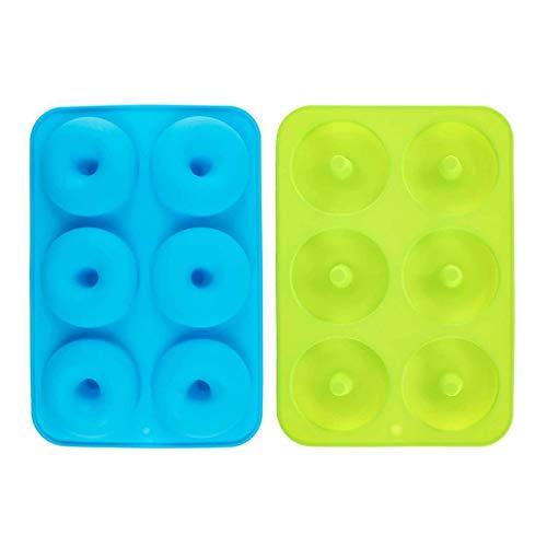 Beada 2 moldes de silicona antiadherentes, fáciles de degradar para 6 donuts de tamaño completo, color verde y azul
