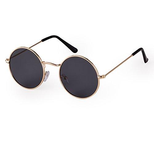 SORVINO Small Round Trendy Sunglasses Reflective Lens Unisex Glasses Steampunk(Gold/Grey, 50)