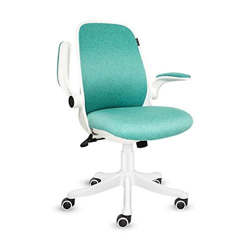 Fullwatt, sedia da ufficio in tessuto con braccioli ribaltabili, ergonomici, a dondolo a 30°, rotazione a 360°, superficie di sollevamento, base in nylon rinforzato in resina (verde)