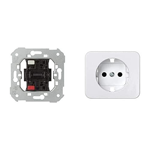 Simon 75101-39 -75101-39 Interruptor Unipolar S-75 Ref. 6557539001, 250 V, Blanco + - 75041-60 Tapa Enchufe 2P+Tt Schuko S-75 Blanco Nieve Ref. 6557530231