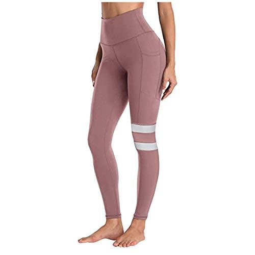 Justwide Polainas De Yoga Elásticas para Mujer Bolsillos para Correr Gimnasio Deportes Pantalones Activos De Cuerpo Entero(Rosado,L)