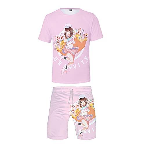 EDMKO Mujeres T-Shirt Camiseta Y Pantalón Corto My Hero Academia Ochaco Uraraka Conjunto 2 Piezas Adolescentes Fanáticos del Cómic Hombres Disfraz De Cosplay,Rosado,M