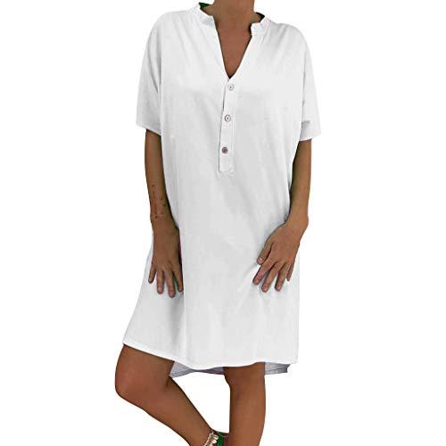 Lialbert T-Shirt-Kleid Dame HäNgerkleid V-Ausschnitt Mit-ÄRmeln Kleider A-Linie Rock Skaterkleid HäNgerkleid Freizeit Lockerer KnöPfen Rock Weiß