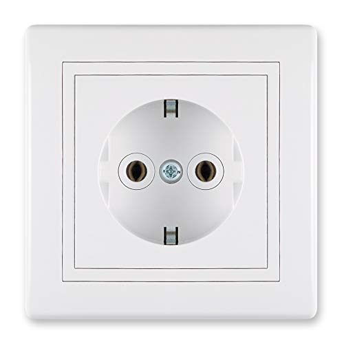 ALING-CONEL | PRESTIGE-Line | Unterputz-Steckdose mit | Schutzkontakt | VDE-zertifiziert | für Installationsdose ø 60mm | 16AX/250V~ | inkl.Rahmen (komplett) | Weiß (RAL 9003)