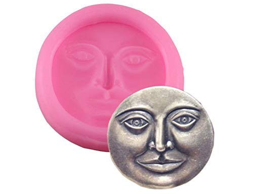 Moon Face Silicone Mold for DIY Jelly Shots Ice Cube Candy Cupcake Cake Topper Decoration Soap Mould Handmade Ice Cream Fondant Mold Gum Paste Chocolate Desserts Crystal Pudding