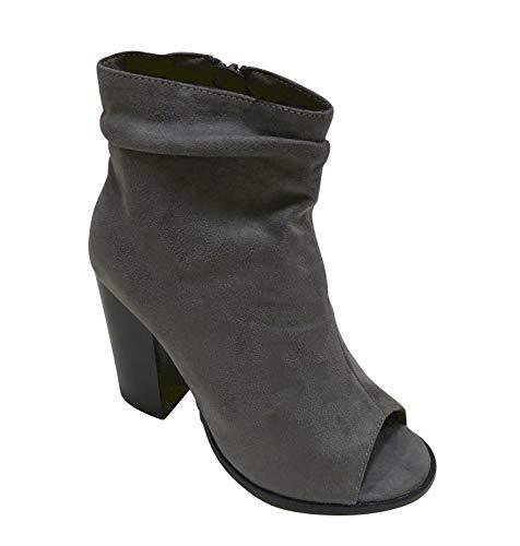 Bella Marie Women's Sarah-28 Peep Toe Slouch Chunky Stacked Block Heel Ankle Bootie (7.5, Grey)