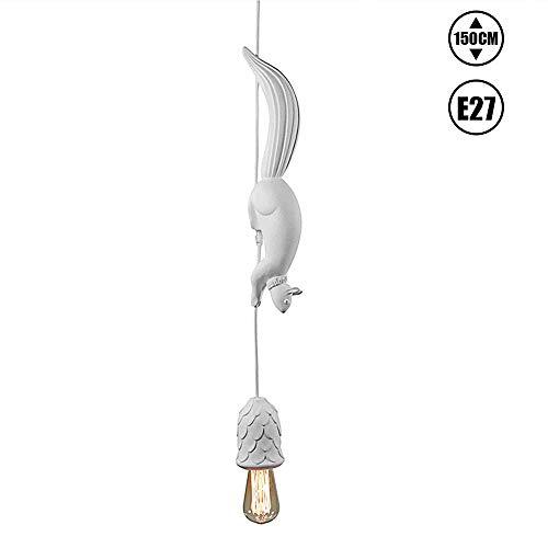 Blanco Luces Colgantes E27 Max.40W, Modernas Comedor Lampara Pendiente Ajustable Mesa de Comedor Lampara Colgante Creativa Resina Ardilla Decoracion para Restaurante Ninos Cuarto Iluminacion