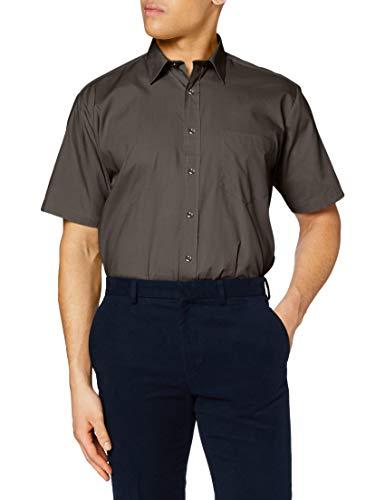 Premier Workwear Premier Workwear Herren Poplin Short Sleeve Shirt Businesshemd, Grau (Dark Grey), XXX-Large