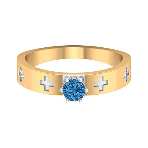 Rosec Jewels 14 quilates oro blanco redonda Blue Arctic Blue Lab creado Diamond