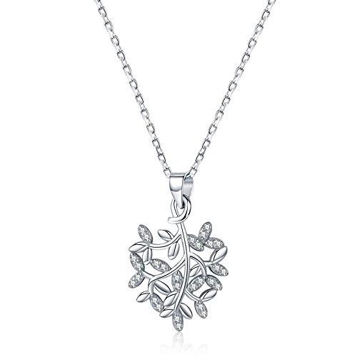 aolongwl Collar de plata de ley 925 hojas patrón breve colgante collares para mujeres encantadora joyería fina