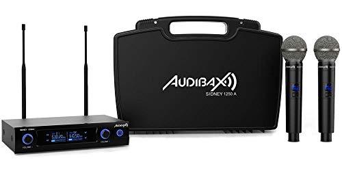 Audibax - Sidney 1250 A - Micrófono Inalámbrico Profesional UHF - Set de 2 Micrófonos de Mano + Maleta - Rango de Cobertura 80 metros - 1 Receptor Dual con Indicador Display - Pilas Tipo AA