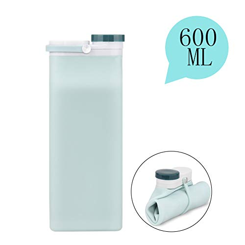 EXTSUD Faltbare Silikonwasserflasche, Tragbar BPA-frei Wasserflasche Auslaufsicher Lebensmittelqualität Silikon Trinkflasche für Zuhause Reisen Outdoor Camping 600 ML, Hellblau