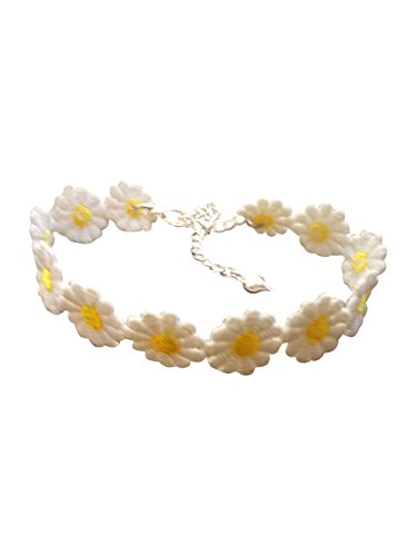 dunns-jewels Cute Hippie Chick Lace Yellow and White Daisy Anklet