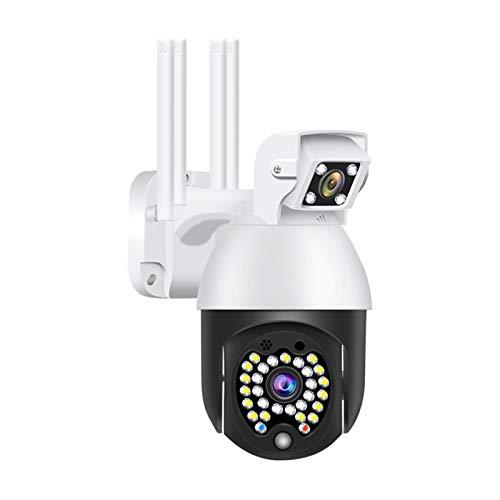 Cámara de vigilancia inalámbrica Hd con lentes duales, cámara IP 1080P Home WiFi, visión nocturna, IP66 impermeable, detección de movimiento, micrófono integrado, seguridad