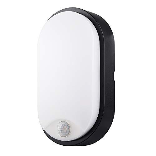 Ovale Lampada da Parete Esterno LED Impermeabile IP54 PIR sensore Applique da Parete Esterno con trim nero - perfetto per giardino, capannone, portico, garage, officina, patio ecc