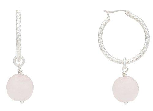Alexandra plata - Pendientes aro de plata de ley 0925 diamantada con cuarzos rosas facetados, diámetro 2,5 cms, color rosa