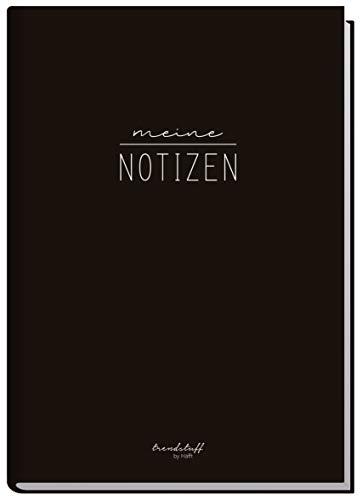 Notizbuch A5 kariert [schwarz] von Trendstuff by Häfft | 126 Seiten | Ideal als Tagebuch, Bullet Journal, Ideenbuch, Schreibheft | klimaneutral & nachhaltig