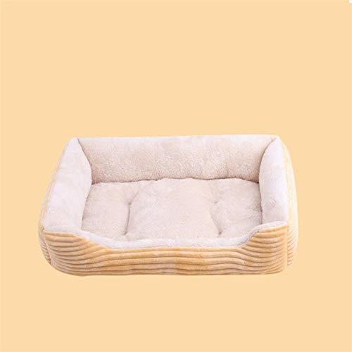 LINZXU-Klein hondenbed wasbaar bestendig beet waterdicht hondenmand met omkeerbaar kussen 4-delige set botspeelgoed deken rotan koelkussen huisdierbed geel