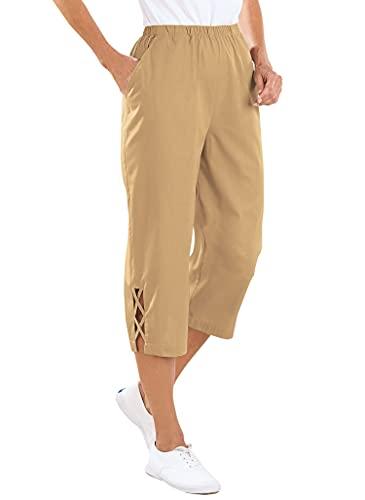 AmeriMark Women's Lattice Hem Capris - 100% Cotton Pants with Elastic Waist Khaki 18 Women