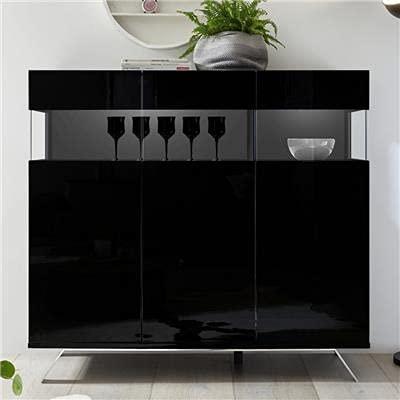 Aparador alto luminoso, diseño negro lacado Palermo 6