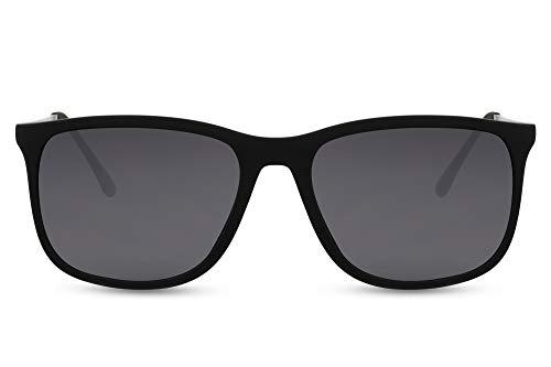 Cheapass Gafas de sol Sunglasses Estilo deportivo fuerte Patillas de metal plateadas Marco de goma negro mate y lentes oscuros 100% UV para hombre