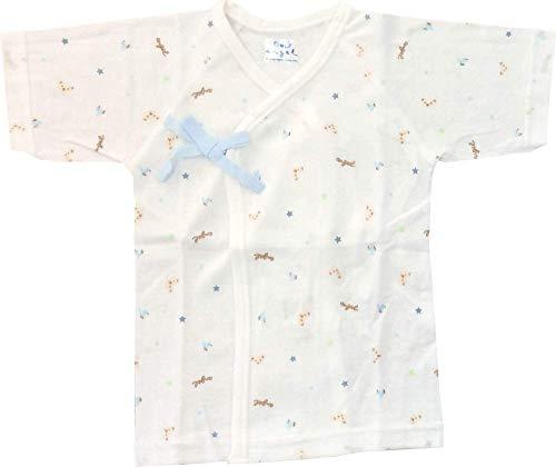 エンゼル クマさん柄 プリント短肌着 新生児肌着 日本製 50〜70cm 綿100% 通年素材 (サックス)