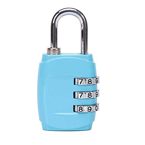 Ogquaton 1 Stücke 3 Digitale Kombination Vorhängeschloss Zahlenschloss Geeignet für Gepäcktasche Schule Gym Schließfächer Aktenschränke (Hellblau) Kreative und Nützliche