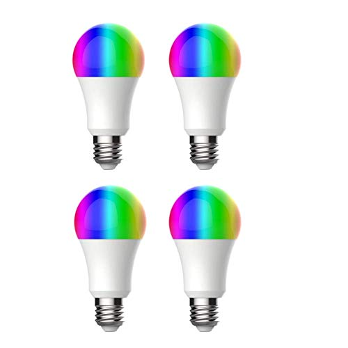 NK Bombilla LED Inteligente - (Pack x4), WiFi 2.4GHz, 9W E27, Luces RGB, Compatible Amazon Alexa/Google Home/IFTTT, Control APP, Encendido/Apagado Remoto, Inalámbrico