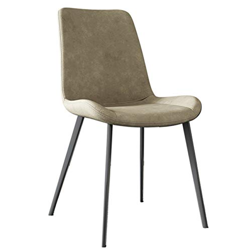 SCAHUN Dining Chairs,Table Chair,Office Chair,Kitchen Counter Chair Leisure Living Room Corner Chair Pu Leather Seat And Backrest Metal Legs Modern Simplicity,Beige-48×46×87cm