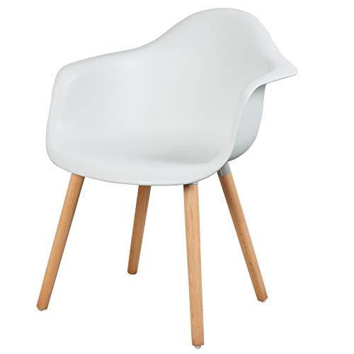 eSituro SDC0014-1 1 x Esszimmerstuhl Küchenstuhl Wohnzimmerstuhl, aus Kunststoff und Holz, mit Rückenlehne und Armlehne, Weiss