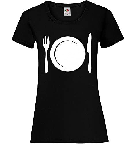 Shirt84.de - Plato con cubiertos para mujer Negro XS