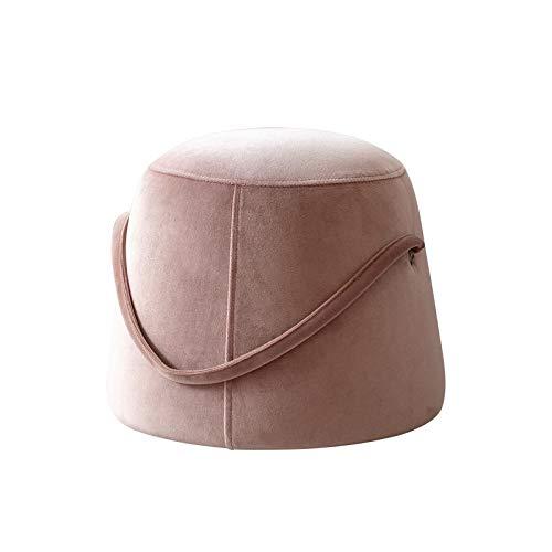 Feixunfan Taburete de tela para sofá nórdico para el hogar, redondo, taburete para cambiar zapatos creativos, reposapiés para pasillo y sala de estar (color: rosa, tamaño: 29 x 33 x 36 cm)