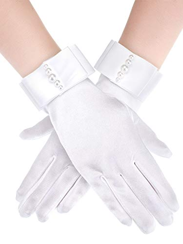 Sumind Short Satin Gloves Wrist Length Gloves Women's Gown Gloves Opera Wedding Banquet Dress Glove for Party Dance (White A,M Size)