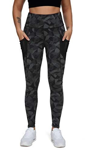 QUEENIEKE Women Yoga Leggings Power Flex Mesh Mid Waist 3 Phone Pocket Gym Running Tights Size S Color Carbon Black Corner