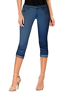 Hybrid & Company Women's Perfectly Shaping Stretchy Denim Capri Q22884X Medium BLU 20