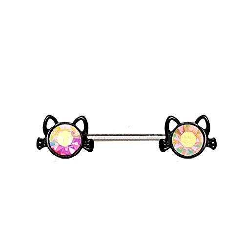 eeddoo® Katze BRUSTPIERCING Regenbogen - schwarzer Nippel Stab Intimpiercing Nipple Shield - Edelstahl - Schmuck für Damen & Herren/Frauen & Männer