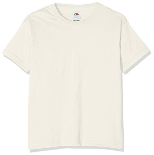 Fruit of the Loom Valueweight Short Sleeve, T-shirt Col Ras Du Cou Manches Courtes Mixte enfant,Blanc (Natural),9-11 Ans (Taille fabricant:32)