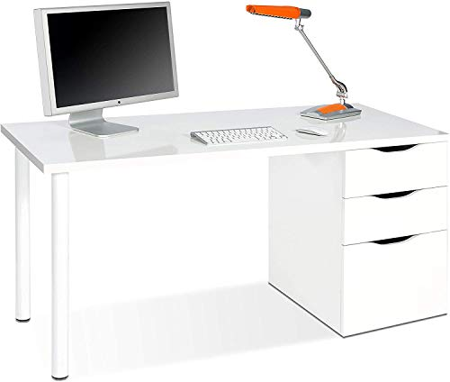 Mobelcenter - Mesa Escritorio con cajonera Reversible - Mesa Oficina con cajonera Reversible - Mesa Escritorio Blanca - Mesa Oficina Blanca - Medidas: 138 cm Ancho x 60 cm Fondo - 0892