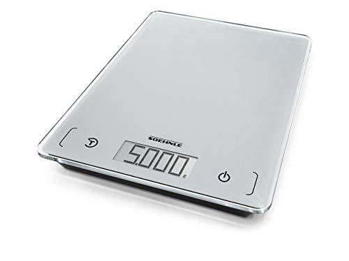 Soehnle Page Comfort 100, digitale Küchenwaage, silber, Gewicht bis zu 5 kg (1-g-genau), Haushaltswaage mit Sensor-Touch, elektronische Waage inkl. Batterien, große LCD-Anzeige