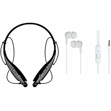 WineWood77 Wireless Bluetooth In Ear Neckband Earphone with Mic (Black & White)