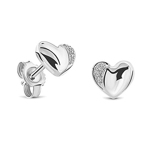 Miore heart stud earrings with brilliant cut diamonds of 0.02 ct in 9 kt 375 white gold 7 x 6 mm