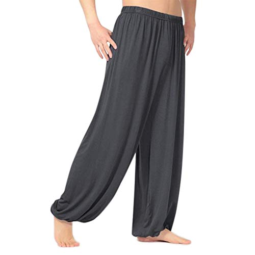 Domybest Yogahose Herren Sporthose Baumwolle Pyjama Hose Large Harem Herren Sport Jogging Tanz M dunkelgrau