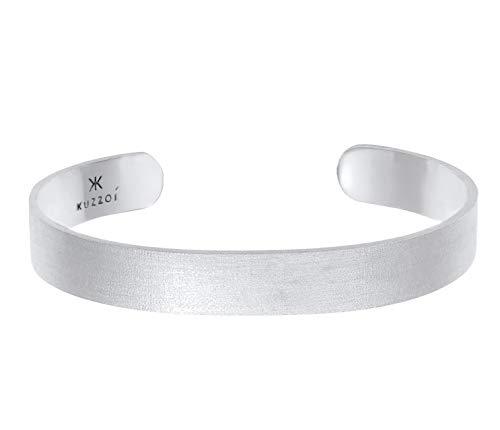 Kuzzoi Buddha Herren Silber Armreif offen, handgefertigt aus echten massiven 925 Sterling Silber mattiert, Basic Armband für Männer, 19cm, 10 mm breit, 25g schwer