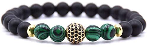 GIAOYAO Pulsera de Piedra Mujer, 7 Chakra Pulsera de Cuentas de Piedra Verde Natural de la Raya Verde Elástico Lucky Bangle Yoga Golden Pave Zircon Ball Jewelry para Unisex